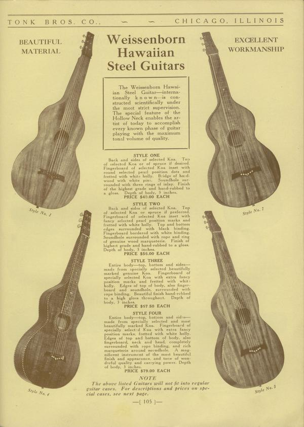 1930 Tonk Brothers Catalog, featuring the different Weissenborn Hawaiian Style Steel Guitars. Courtesy of Aron Radford.