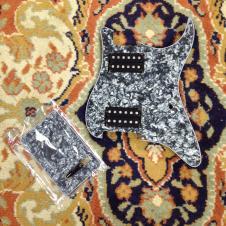 Dragonfire Guitar Parts Prewired Strat Pickguard HH 3-ply Black Pearl image