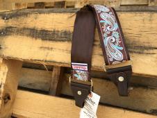 NEW Souldier Straps Banjo Seatbelt Strap - Brown Strap / Brown Tabs / Nickel Hardware - Free Ship image