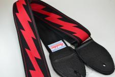 NEW! Souldier Guitar Straps - Lightning Bolt - Black Seatbelt - Leather Ends image