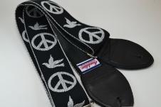 NEW! Souldier Guitar Straps - Peace Dove - Black Seatbelt - Leather Ends image