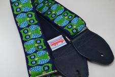 NEW! Souldier Guitar Straps - Owls Blue/Green - Blue Seatbelt - Leather Ends image