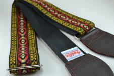 NEW! Souldier Guitar Straps - Bohemian Red  - Black Seatbelt - Leather Ends image