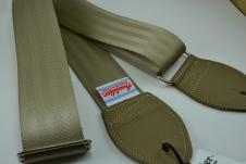 NEW! Souldier Guitar Straps - Plain Beige Seatbelt - Leather Ends image