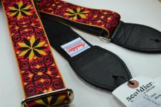 NEW! Souldier Guitar Straps - Dresden Star Red - Black Seatbelt - Leather Ends image