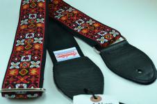 NEW! Souldier Guitar Straps - Woodstock Red - Black Seatbelt - Leather Ends image