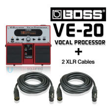 Boss VE-20 Vocal Performer Effects Pedal for Vocalists & XLR Cables image