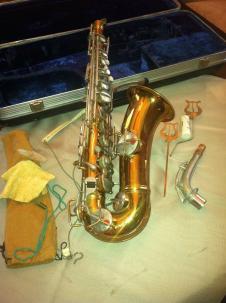 1920s Alto Saxophone, Vintage Conn/Pan American Pertin Paris, Gold/Silver Over Brass image