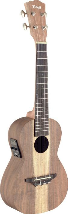 Traditional electro-acoustic concert ukulele with solid acacia top image