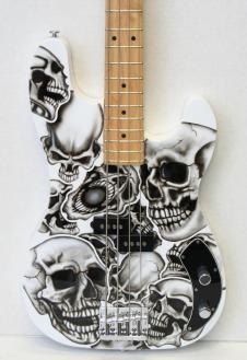 Normandy Guitars Alumicaster Bass  W/ Custom Airbrush Skull finish image
