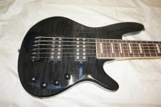 6 string bass guitar, flamed maple wood body image