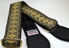 NEW! Souldier Guitar Straps - Persian BK - Black Seatbelt - Leather Ends image