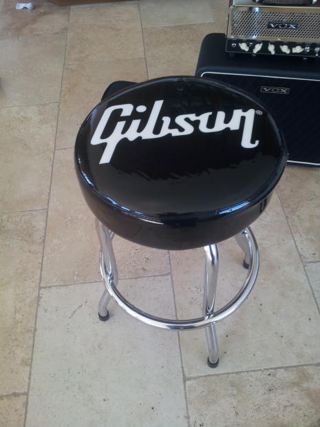 Gibson Gibson Guitar 24 Quot White Logo Black Bar Stool Reverb