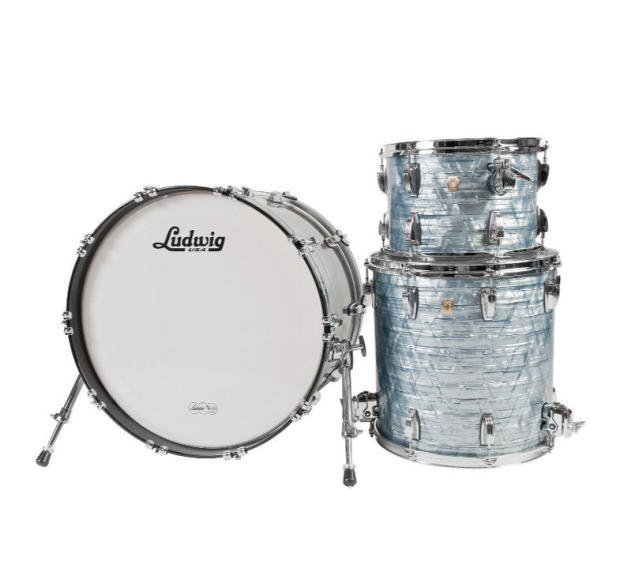 ludwig usa classic maple 3 pc drum kit sky blue pearl w hardware and cymbals reverb. Black Bedroom Furniture Sets. Home Design Ideas