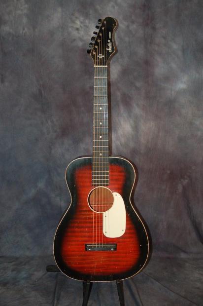 stella harmony h933 fender headstock red faux tiger stripe acoustic guitar 1960 39 s reverb. Black Bedroom Furniture Sets. Home Design Ideas