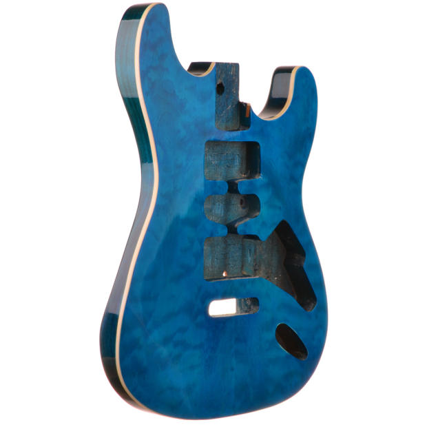 Coral Blue Mahogany Quilted Top Stratocaster Guitar Body