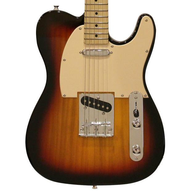 Sawtooth sunburst w aged white pickguard telecaster style electric