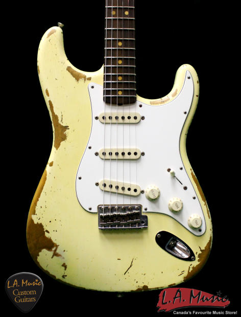 fender custom shop l series 1964 stratocaster super heavy relic vintage white rosewood. Black Bedroom Furniture Sets. Home Design Ideas