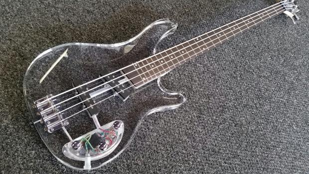ktone lucite clear bass guitar with green led reverb. Black Bedroom Furniture Sets. Home Design Ideas