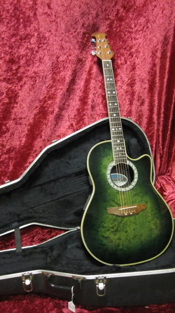 ovation cc157 celebrity acoustic electric in green quilt with hard shell case reverb. Black Bedroom Furniture Sets. Home Design Ideas