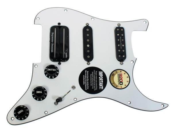 custom loaded pickguard with dimebucker sh 13 ssl 3 and sl59 reverb