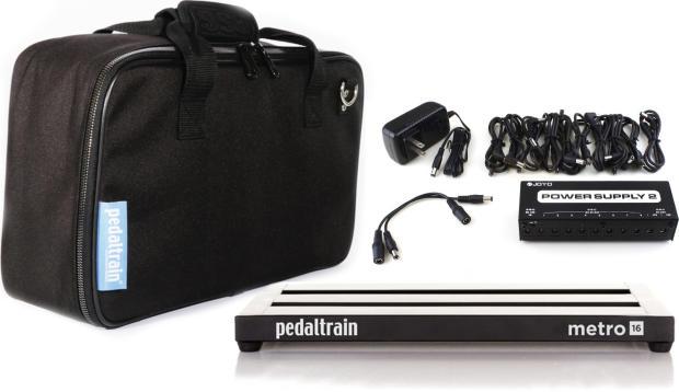 pedaltrain metro 16 3 rail 16 x 8 pedalboard w soft case and joyo jp 02 power supply black. Black Bedroom Furniture Sets. Home Design Ideas