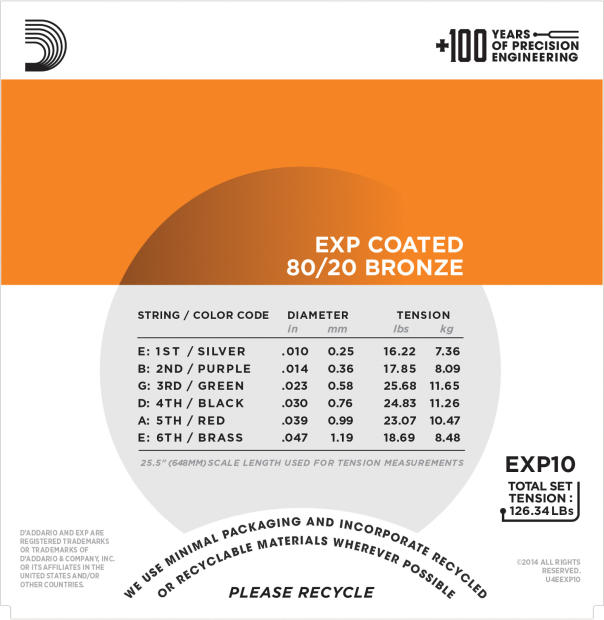 Pack | D'Addario EXP10 Acoustic Guitar Strings | Extra Light image