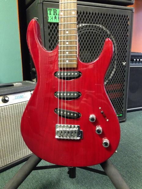 samick strat style electric guitar transparent red reverb. Black Bedroom Furniture Sets. Home Design Ideas