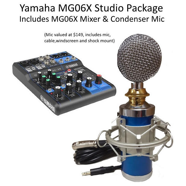 Yamaha mg06x studio bundle w cable windshield for Yamaha mg10xu usb cable