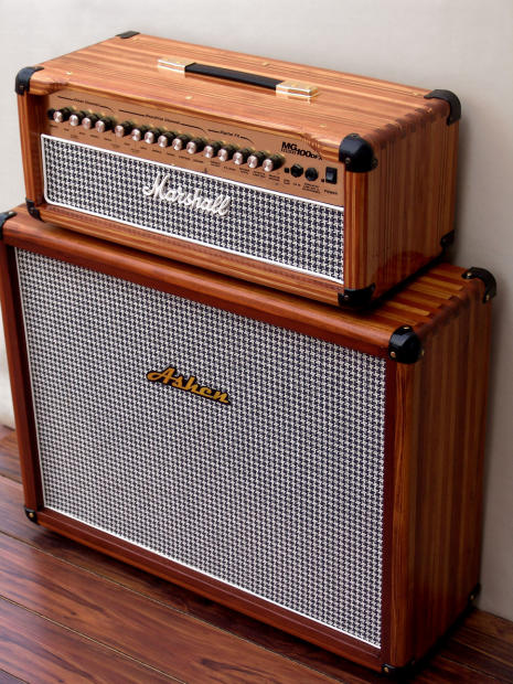marshall mg100dfx head cab conversion natural wood reverb. Black Bedroom Furniture Sets. Home Design Ideas
