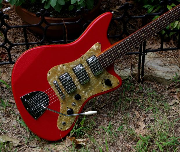 egmond model 3v 1965 red vinyl electric guitar made in holland used by most of the 60 39 s. Black Bedroom Furniture Sets. Home Design Ideas