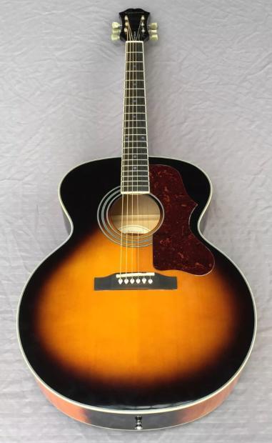 epiphone ej 200 artist na jumbo acoustic guitar in sunburst with deluxe case reverb. Black Bedroom Furniture Sets. Home Design Ideas