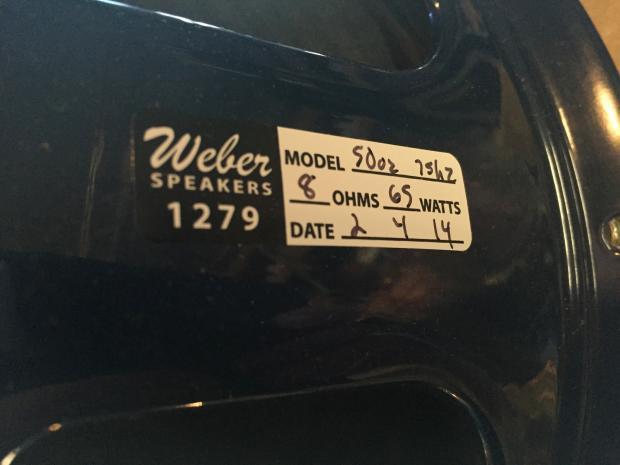 Weber Legacy 12 F 65watts 8ohms 50oz Magnet Reverb