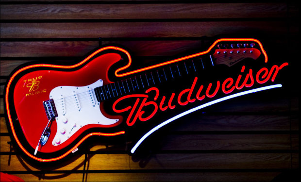Aria Budweiser Guitar from Neon Sign - Red | Reverb