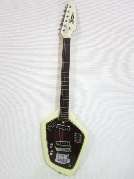 vintage 1960s teisco del ray domino californian phantom shape guitar cream stylish with case. Black Bedroom Furniture Sets. Home Design Ideas