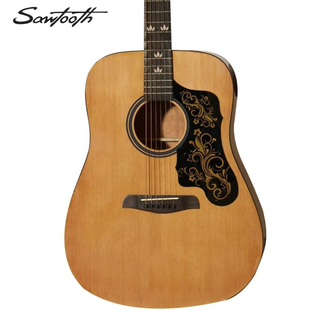 sawtooth acoustic guitar w black pickguard and custom graphic spruce top mahogany back and. Black Bedroom Furniture Sets. Home Design Ideas