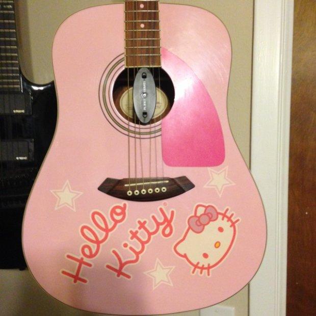 rare fender squier hello kitty acoustic guitar reverb. Black Bedroom Furniture Sets. Home Design Ideas