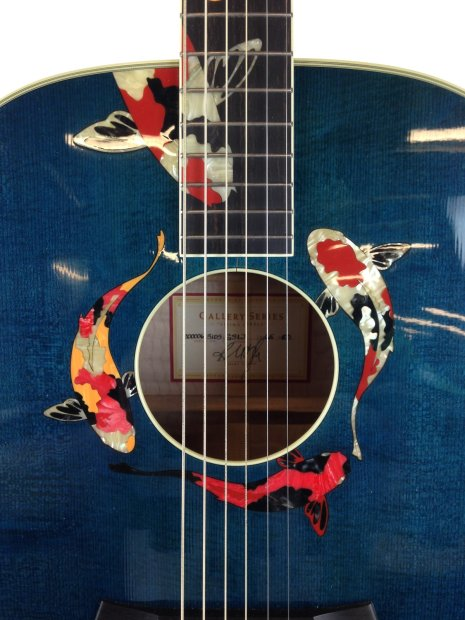 Taylor custom 6 string guitar gslj koi living jewel enlay for Koi fish guitar