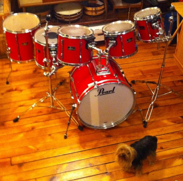 pearl export series 6 pc drum set late 80s with upgrades red vinyl wrap reverb. Black Bedroom Furniture Sets. Home Design Ideas