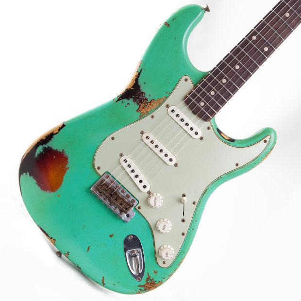 fender cs stratocaster 39 60 heavy relic namm 2014 seafoam green over 3 tone sunburst reverb. Black Bedroom Furniture Sets. Home Design Ideas