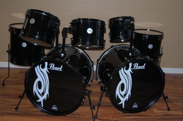 pearl joey jordison limited edition mid 2000 39 s black on black 8pc drum set kit reverb. Black Bedroom Furniture Sets. Home Design Ideas