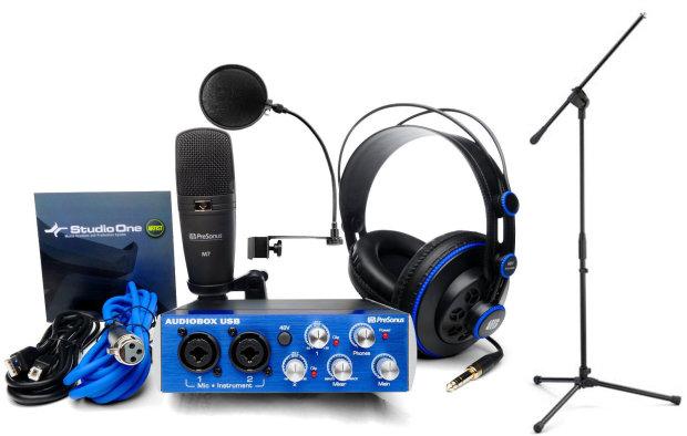 presonus audio box studio recording interface w headphones m7 mic software pop filter and. Black Bedroom Furniture Sets. Home Design Ideas