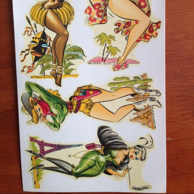 Rare Vintage Italian Pinup Water Slide Decals 1950s 60s