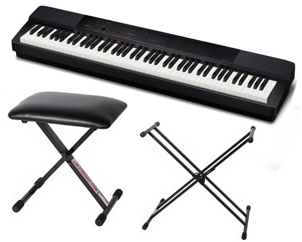 Casio privia px 350 digital piano black bundle with x style double braced keyboard stand and Keyboard stand and bench