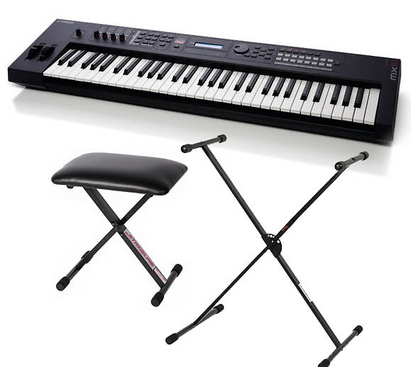 Yamaha mx61 synthesizer workstation bundle with stageline Keyboard stand and bench