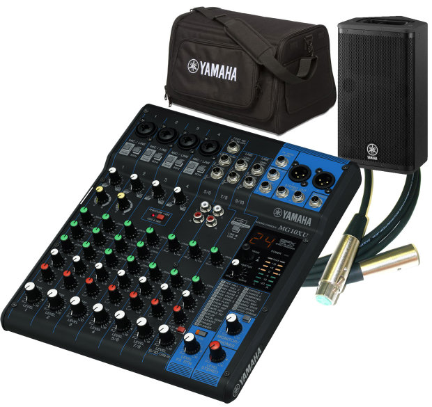 yamaha mg10xu mixer bundle with 2 active loudspeakers 2 speaker bag and 2 xlr cables reverb. Black Bedroom Furniture Sets. Home Design Ideas