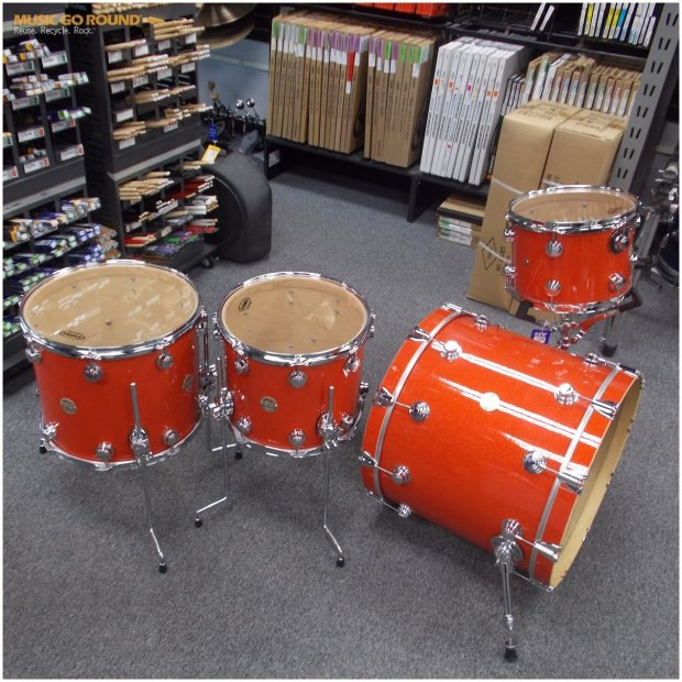 Dw collector series drums in super tangerine sparkle 2004 for 14x12 floor tom