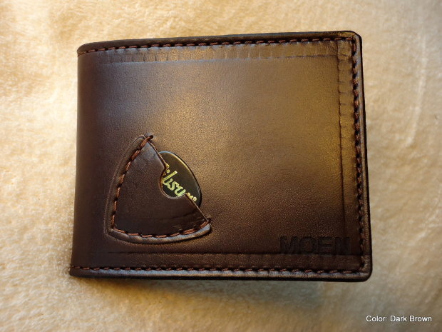 Personalized Leather Guitar Pick Billfold Wallet In Medium