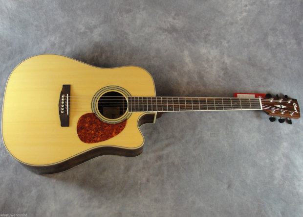 Dreadnought asian ebony striped acoustic electric guitar