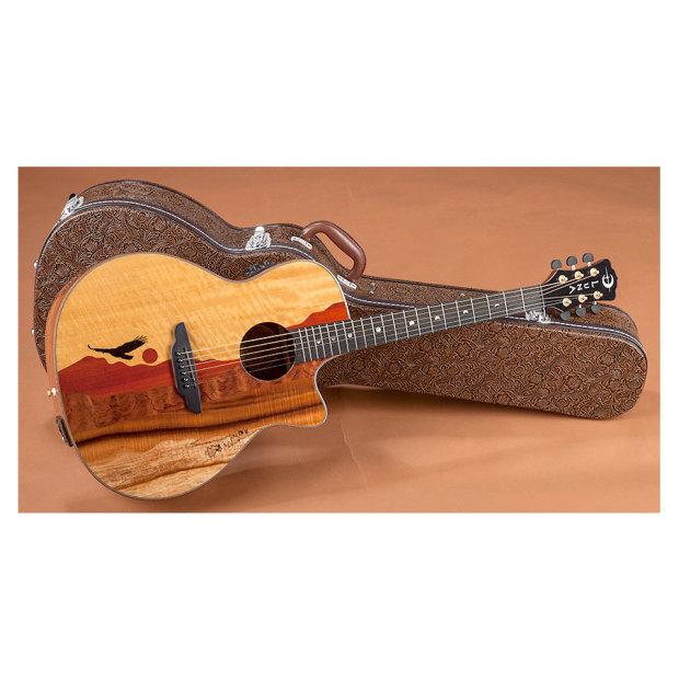 luna vista eagle 6 string tropical wood acoustic guitar w hardshell faux tooled leather case. Black Bedroom Furniture Sets. Home Design Ideas